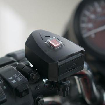 Tomada Dupla USB 5V2.4A carga rápida com botão ON/OFF para motos, triciclos, Quadriciclos